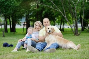 Family with Golden Retriever - In Home Dog Training